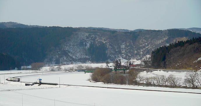 吉沢の大雪原を行く配給列車(動画キャプチャ)山田和昭